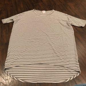 Lularoe Irma high low ribbed grey striped tee